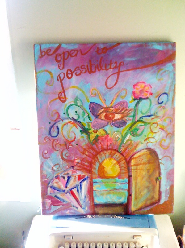 be open to possibilty - encouraging inspirational art painting on cloud9designstudio on etsy